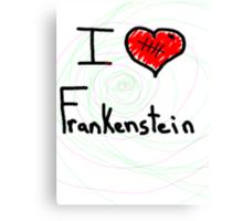 i love Frankenstein halloween   Canvas Print