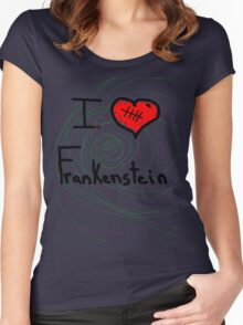 i love Frankenstein halloween   Women's Fitted Scoop T-Shirt