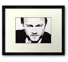 Heath Ledger - Portrait in India Ink by Guy Hoffman Framed Print