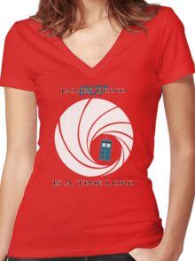 James Bond is a Time Lord Women's Fitted V-Neck T-Shirt