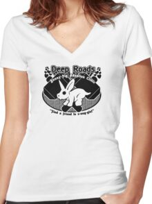 Deep Roads Bunny-Pig Adoption Clinic Women's Fitted V-Neck T-Shirt
