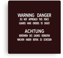 Warning Danger Achtung, Berlin Wall, Germany Sign Canvas Print