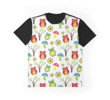 Owls, Trees, Mushrooms, Flowers - Green Blue Pink Graphic T-Shirt