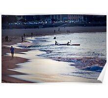 Kayakers, Bondi, New South Wales, Australia Poster