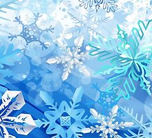 Blue and white Snowflakes by Winkham