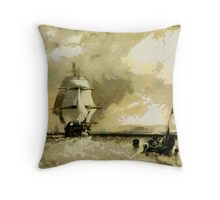 Traditional Sailing Ships off North Foreland circa 1834 Throw Pillow