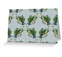 Tit Birds, Branches, Flowers - Green Blue Yellow Greeting Card