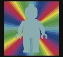 Blue Minifig in front of Rainbow by Customize My Minifig by ChilleeW