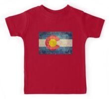 Colorado State Flag with vintage retro style treatment Kids Tee