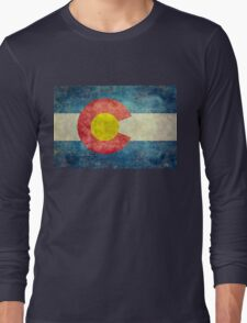 Colorado State Flag with vintage retro style treatment Long Sleeve T-Shirt