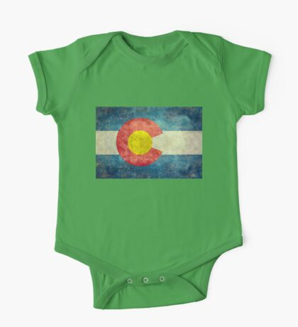 Colorado State Flag with vintage retro style treatment One Piece - Short Sleeve