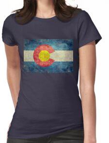 Colorado State Flag with vintage retro style treatment Womens Fitted T-Shirt
