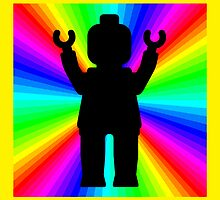 Black Minifig in front of Rainbow by Customize My Minifig by ChilleeW