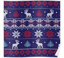 Blue reindeer christmas pattern  Poster