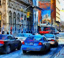 Cars on King Street - Toronto Downtown by DiNovici