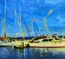 Boats on Ontario Lake by DiNovici