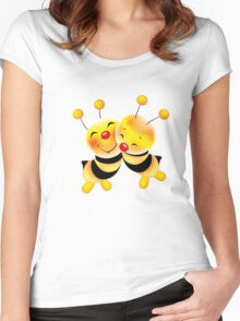 Cut-out of bees in love Women's Fitted Scoop T-Shirt