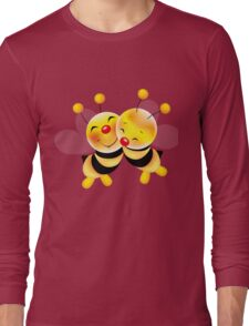 Cut-out of bees in love Long Sleeve T-Shirt