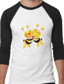 Cut-out of bees in love Men's Baseball ¾ T-Shirt