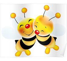Cut-out of bees in love Poster