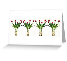 4 vases of tulips  Greeting Card