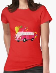 Cut-out of colorful retro splitty Womens Fitted T-Shirt
