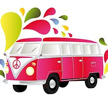 Cut-out of colorful retro splitty by schtroumpf2510