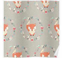 Baby fox pattern 02 Poster
