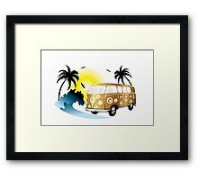 Cut-out of retro on the beach Framed Print