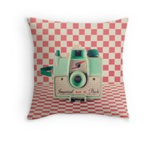 Mint Retro Camera on Red Chequered Background  Throw Pillow