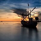 soft Sea in sunrise with Boat by arthit somsakul
