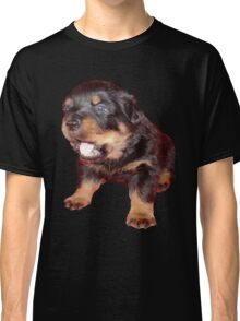 Rottweiler Puppy Isolated On Black Classic T-Shirt