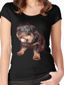 Rottweiler Puppy Isolated On Black Women's Fitted Scoop T-Shirt