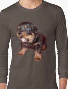 Rottweiler Puppy Isolated On Black Long Sleeve T-Shirt