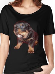 Rottweiler Puppy Isolated On Black Women's Relaxed Fit T-Shirt