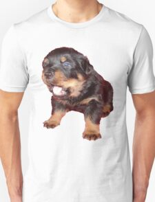 Rottweiler Puppy Isolated On Black Unisex T-Shirt