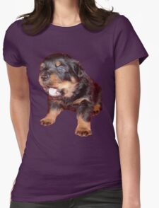Rottweiler Puppy Isolated On Black Womens Fitted T-Shirt