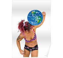 Female Atlas holds the world on her shoulder  Poster