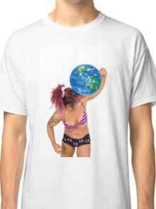 Female Atlas holds the world on her shoulder  Classic T-Shirt