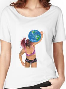 Female Atlas holds the world on her shoulder  Women's Relaxed Fit T-Shirt