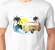 Cut-out of retro on the beach Unisex T-Shirt