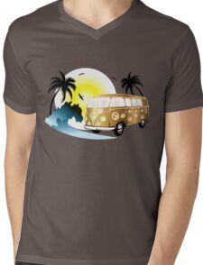 Cut-out of retro on the beach Mens V-Neck T-Shirt