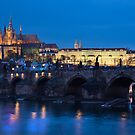 Prague Castle in night by arthit somsakul