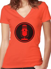 Vintage Red Microphone Women's Fitted V-Neck T-Shirt