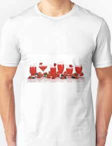 cool and refreshing red strawberry juice and strawberries T-Shirt