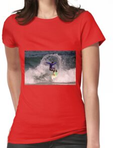 Surfer spins on the crest of a wave Womens Fitted T-Shirt