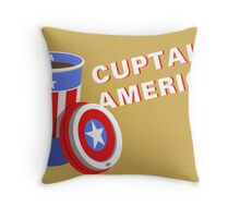 Cuptain America Throw Pillow
