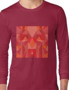 Red Tribal Poly Design Long Sleeve T-Shirt