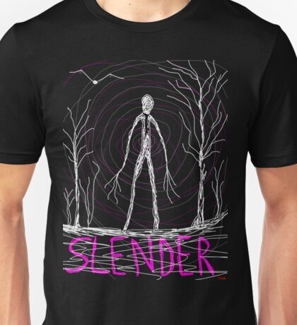 dark creepy slender man in forest on Halloween by Tia Knight Unisex T-Shirt