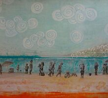 White Rock, Mixed media on board by Sandrine Pelissier